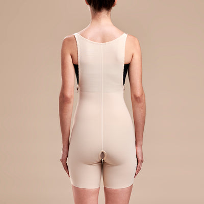 Marena Recovery style FBT compression girdle with suspenders thigh length, back view in beige