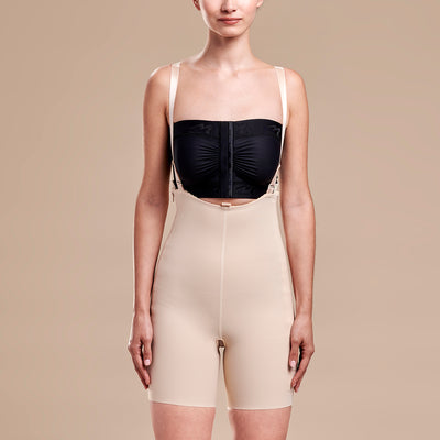 Marena Recovery style FBT compression girdle with suspenders thigh length, front view in beige