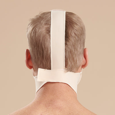 Marena Recovery style FM100-A minimal coverage, no neck compression face mask, back view in beige shown on male model
