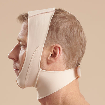 Marena Recovery FM100-B compression face mask side view in beige showing a male model.