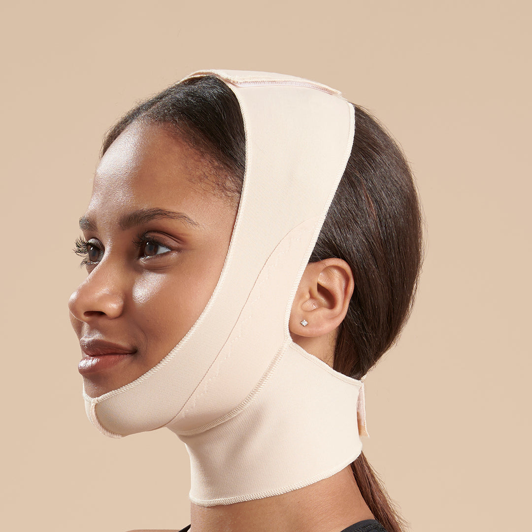 Marena Recovery FM100-B compression face mask side view in beige showing a female model.