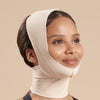 Marena Recovery FM100-C compression face mask side view in beige showing a female model.