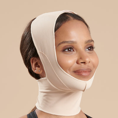 Marena Recovery style FM100-C minimal coverage, full neck length compression face mask side view in beige shown on female model