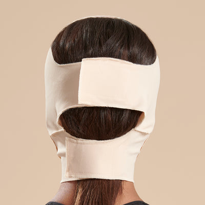 Marena Recovery FM300-A compression face mask back view in beige showing both adjustable velcro clousures