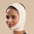Marena Recovery style FM300-A medium coverage, no neck compression face mask, side view in beige shown on female model