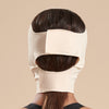 Marena Recovery style FM300-B medium coverage, mid neck length compression face mask back view in beige shown on female model