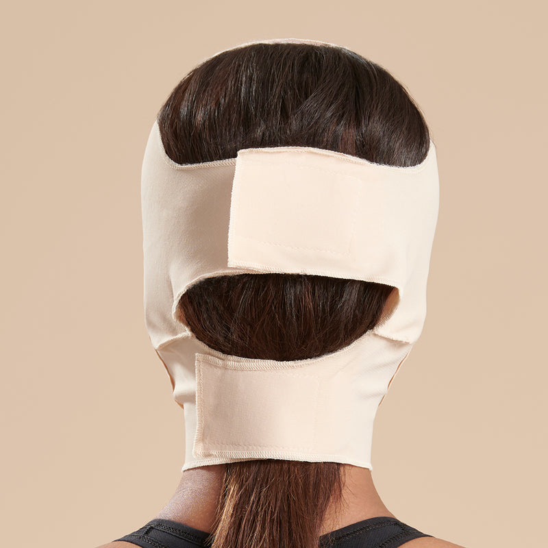 Marena Recovery style FM300-B medium coverage, mid neck length compression face mask side view in beige shown on female model