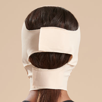 Marena Recovery style FM300-C medium coverage, full neck length compression face mask back view in beige shown on female model