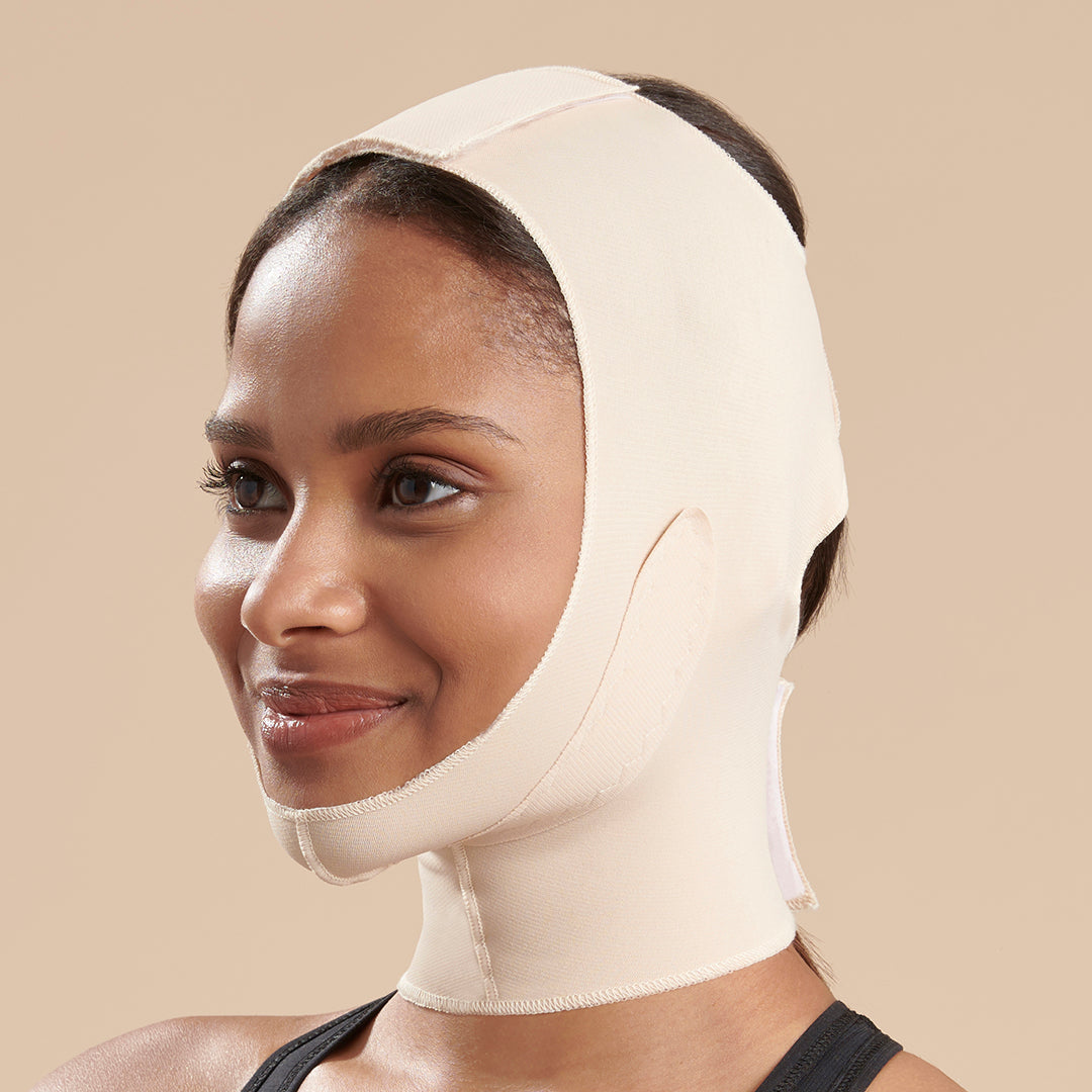 Marena Recovery FM300-C compression face mask side view in beige showing top velcro closure.