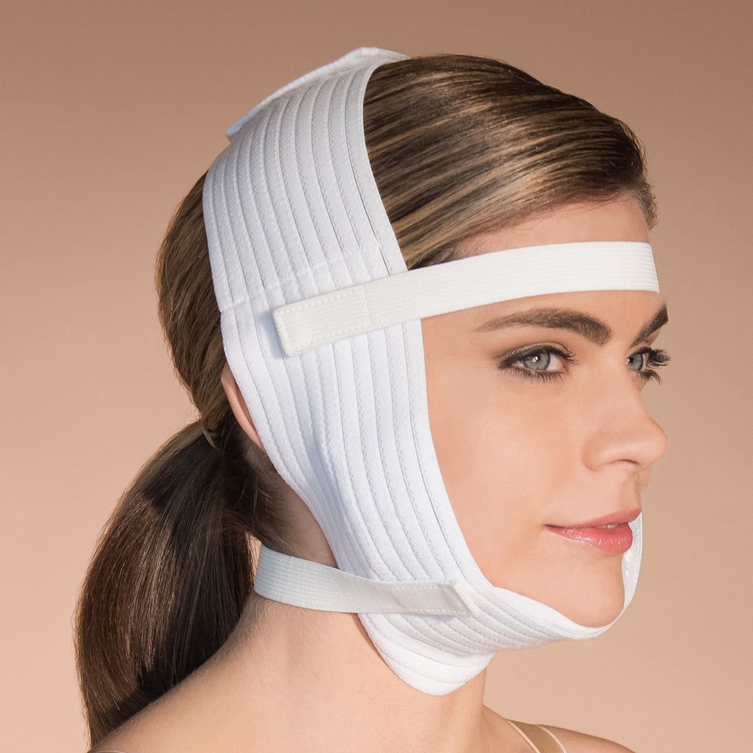 Marena Recovery FM400 compression Face Wrap with Ice pack side view showing female model