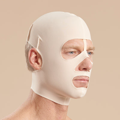 arena Recovery FM500 full coverage face mask side view in beige showing male model
