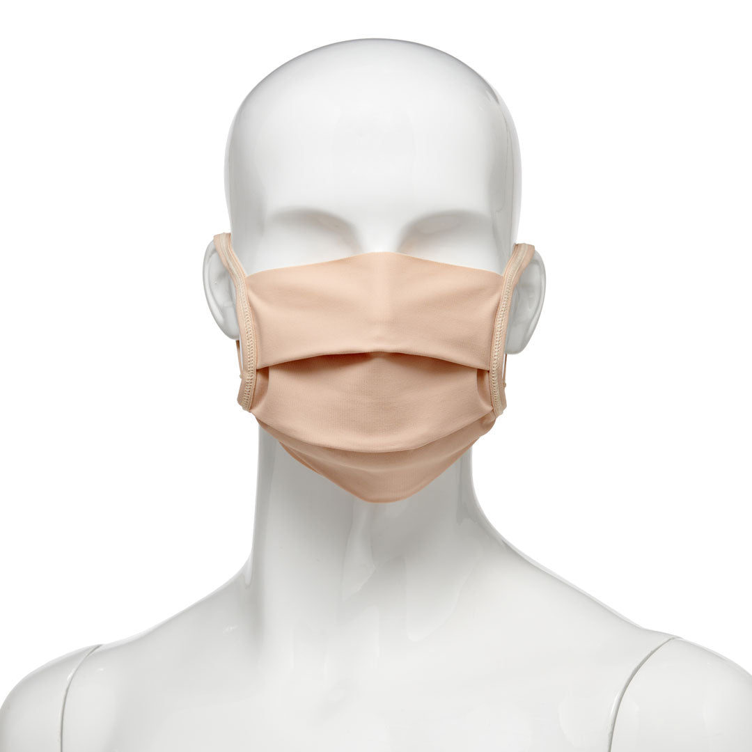 Washable, reusable universal size fabric face mask 500 pack, front view on mannequin in beige fabric with beige elastic straps