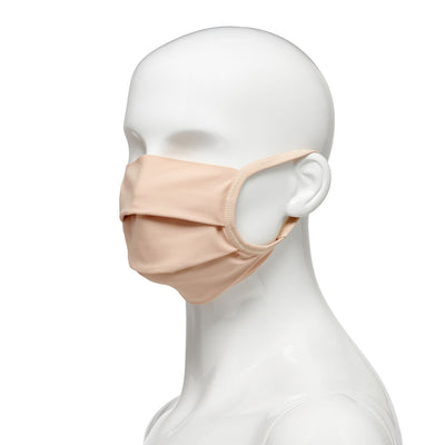 Washable, reusable universal size fabric face mask 50 pack, side view on mannequin in beige fabric with beige elastic straps
