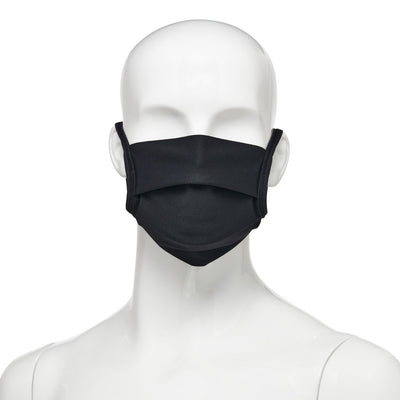 Washable, reusable universal size fabric face mask 50 pack, front view on mannequin in black fabric with black elastic straps