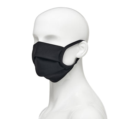 Washable, reusable universal size fabric face mask single pack, side view on mannequin in black fabric with black elastic straps