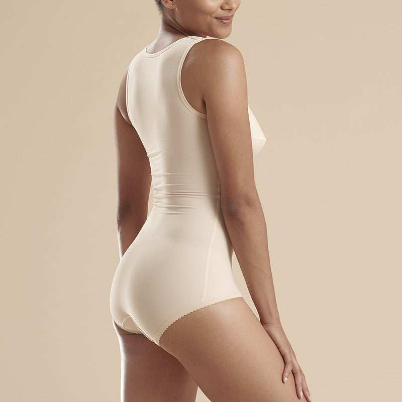 Marena Recovery style FTA  sleeveless compression bodysuit panty length, front view in beige