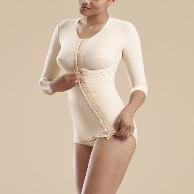 Marena Recovery style FTRA/SM Bikini length compression bodysuit with 3/4 sleeves, front view in beige