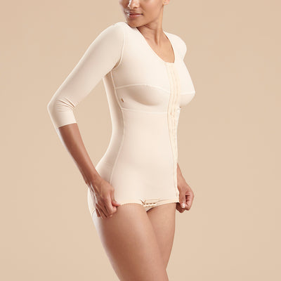 Marena Recovery style FTRA/SM Bikini length compression bodysuit with 3/4 sleeves, side view in beige