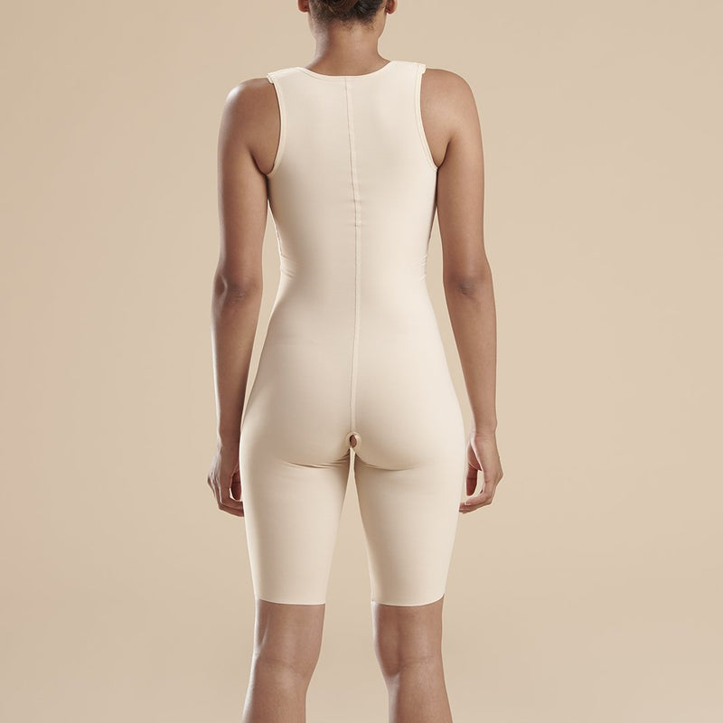 Marena Recovery style FTS sleeveless compression bodysuit, detail side view in beige