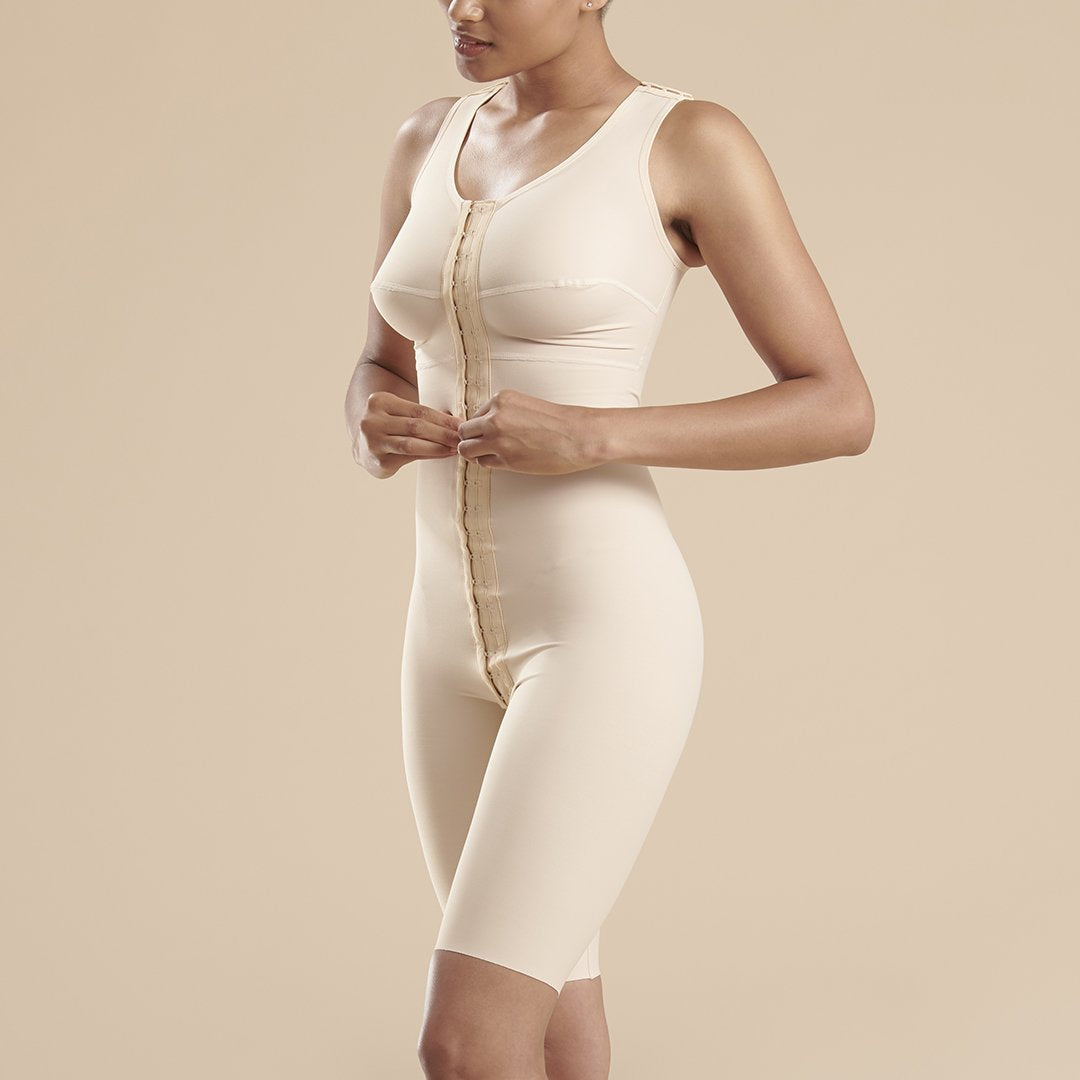 Marena Recovery FTS sleeveless compression bodysuit detail side view in beige