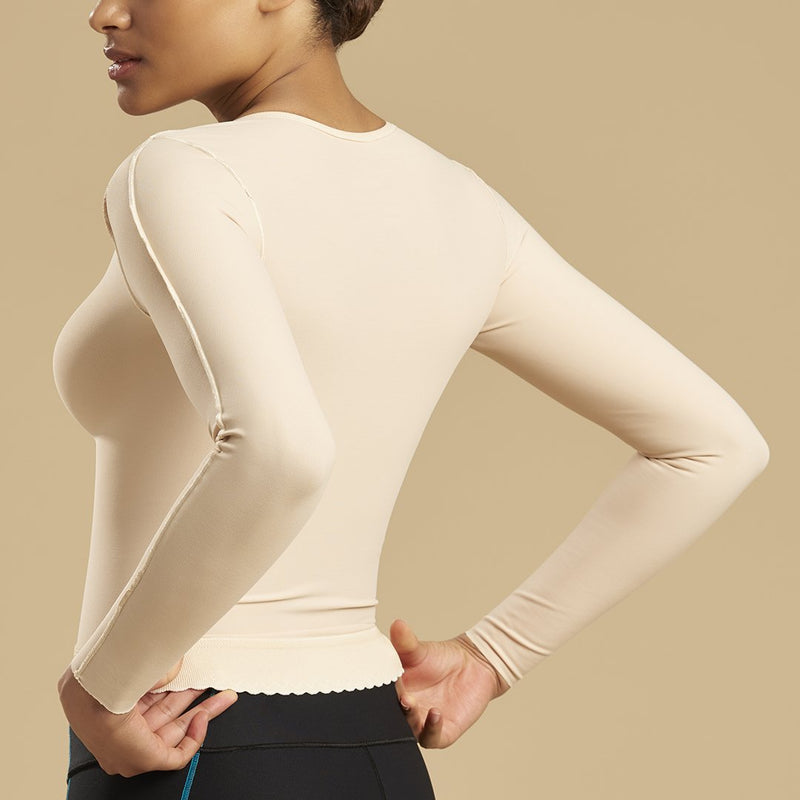 Marena Recovery style FV2L long sleeve compression vest, front view in beige