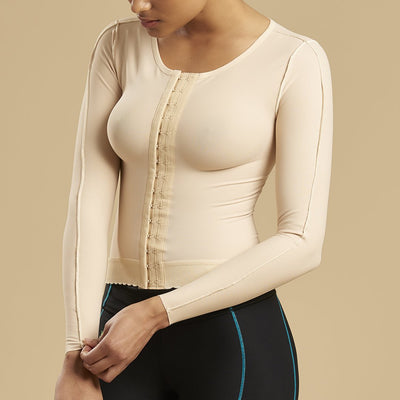 Marena Recovery FV2L long sleeve compression vest side view in beige