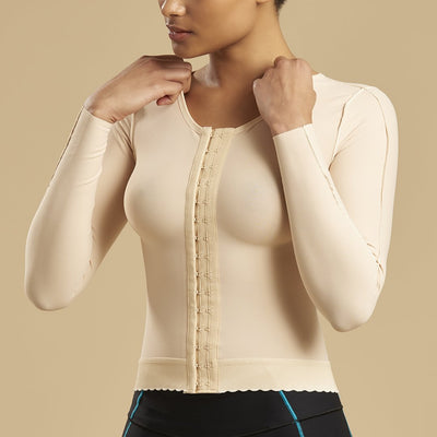 Marena Recovery FV2L long sleeve compression vest front side view in beige