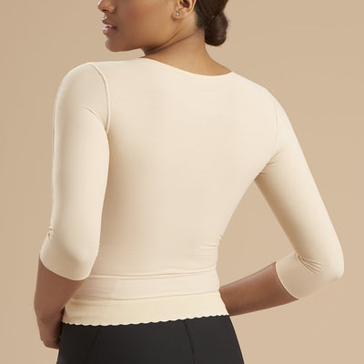 Marena Recovery style FV2M 3/4 sleeves vest with hook and eye closure, back close up view in beige