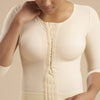 Marena Recovery style FV2M 3/4 sleeves vest with hook and eye closure, front close up detail view in beige