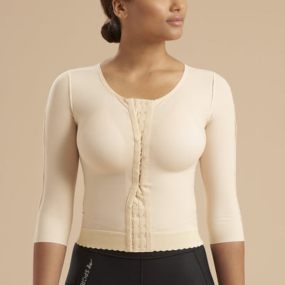 Marena Recovery FV2M 3/4 sleeves vest with hook and eye closure front view in beige