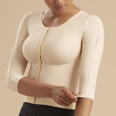 Marena Recovery style FV2M 3/4 sleeves vest with hook and eye closure, front view in beige