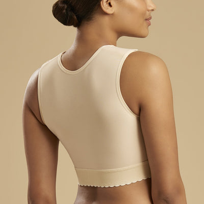 Marena Recovery style FVNSZ sleeveless compression vest with front zipper, back view in beige