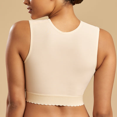 Marena Recovery FVNS sleveless compression vest back pose view in beige