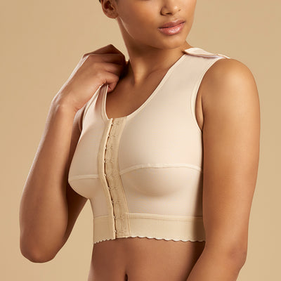 Marena Recovery FVNS sleveless compression vest side pose view in beige