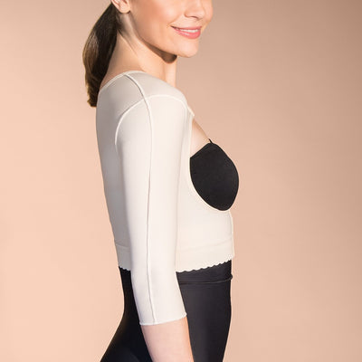 Marena Recovery FVOM 3/4 sleeves compression vest side view in beige