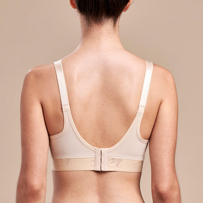 FlexFit™ Ultra Low Coverage Zip-Front Bra - Style No. B09Z Back view, in beige