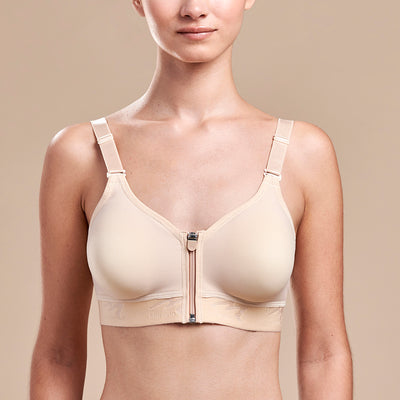 FlexFit™ Ultra Low Coverage Zip-Front Bra - Style No. B09Z Front view, in beige