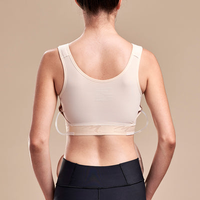 FlexFit™ Drain Bulb Management Bra, Back view in Beige