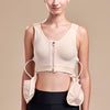 Marena Recovery POUCH 2 drain bulb pouches worn on B19 drain bulb management bra, front view on female model