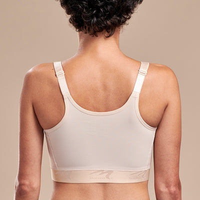 FlexFit™ High Coverage Zip-Front Bra -BNRZ Back view, in Beige