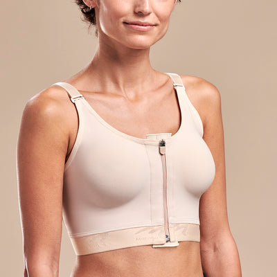 FlexFit™ High Coverage Zip-Front Bra -BNRZ  Pose view, in Beige