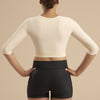 Marena Recovery style GFVM 3/4 sleeves compression vest, front view in beige