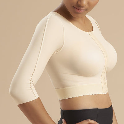 Marena Recovery style GFVM 3/4 sleeves compression vest, side view in beige