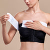Marena Recovery style ISB Breast Wrap, front view in white shown with model putting on