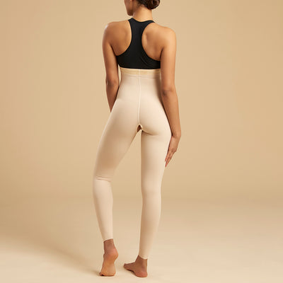 Marena Recovery LGL2 Ankle length compression girdle zipperless back view in beige
