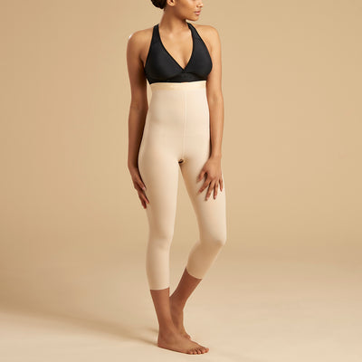 Marena Recovery style LGM2 Calf length compression zipperless girdle, front view in beige