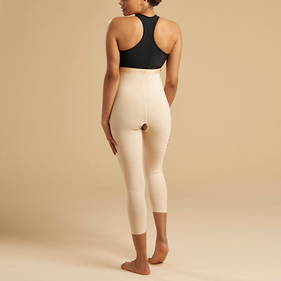 Marena Recovery style LGM calf length compression girdle, back view in beige