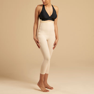 Marena Recovery style LGM calf length compression girdle, front view in beige