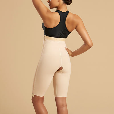 Marena Recovery LGS-SZ Thigh length compression girdle with separating zipper back view in beige