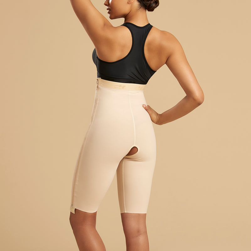Marena Recovery style LGS-SZ Thigh length compression girdle with separating zipper, front view in beige